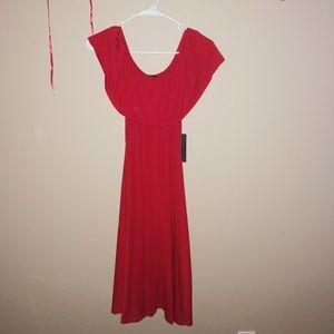 Cherry Red Off The Shoulder Dress